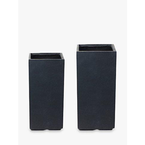 Ivyline Fibre Clay Vase Plant Pots, Anthracite, Set ...