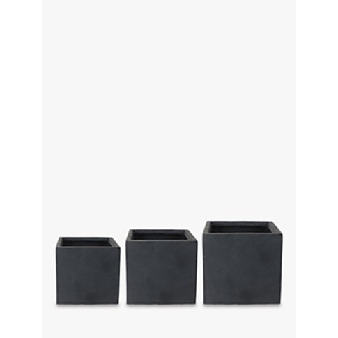 Ivyline Fibre Clay Cube Plant Pots, Anthracite, Set ...