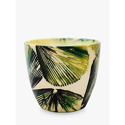 Ivyline Monza Palm Indoor Plant Pot, Green, 14.5cm