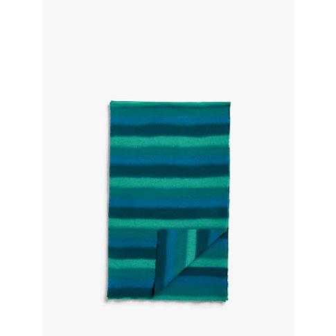 John Lewis & Partners Kasuri Stripe Throw, Blue