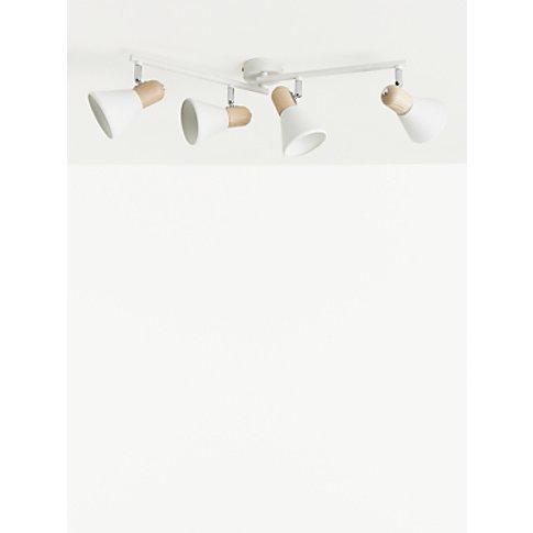 John Lewis & Partners Ses Led 4 Spotlight Ceiling Bar, White/Wood
