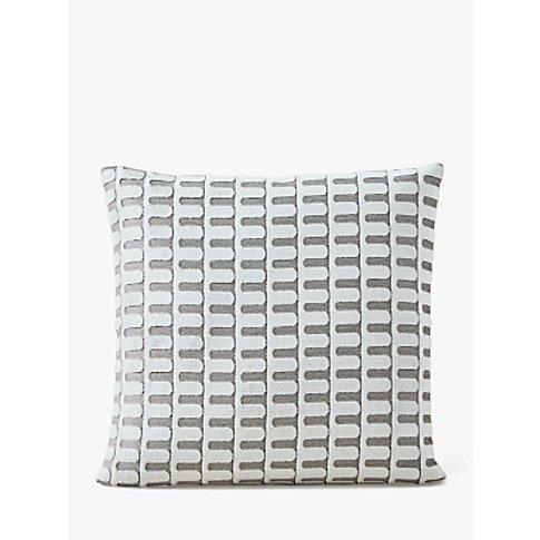 West Elm Cut Velvet Arches Cushion, Stone White
