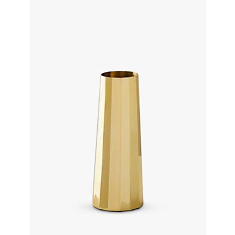 West Elm Foundations Tapered Column Vase, Brass, H13cm