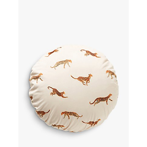 Anthropologie Doreen Cheetah Velvet Cushion, White