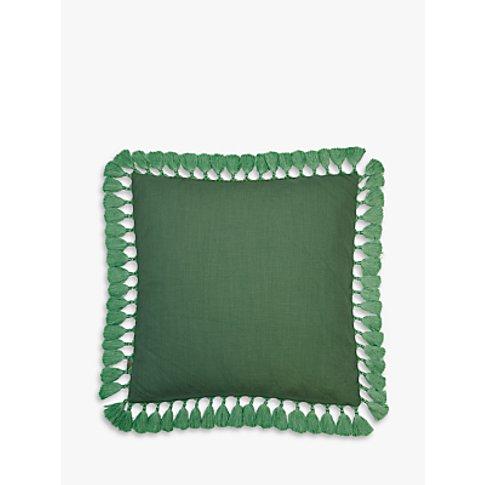 Elizabeth Scarlett Plain Tassel Cushion, Green Bay