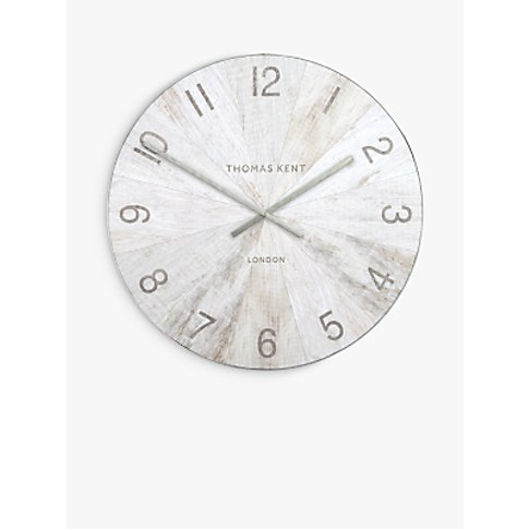 Thomas Kent Large Wharf Wall Clock, 114cm, Pickled Oak