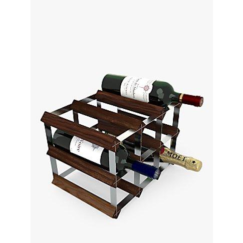 Rta Wood Wine Rack, 9 Bottle, Dark Pine