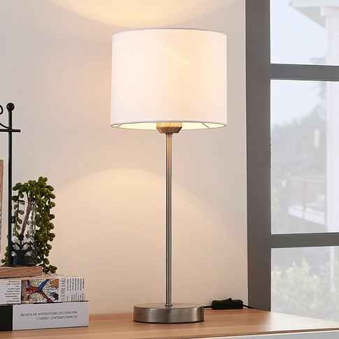 Annatina White Table Lamp With Fabric Lampshade
