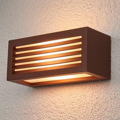 Box L E27 Exterior Wall Lamp, Rust Brown