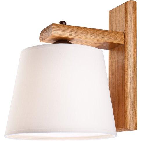 Sweden Wall Light With Wooden Frame, Rustic Oak