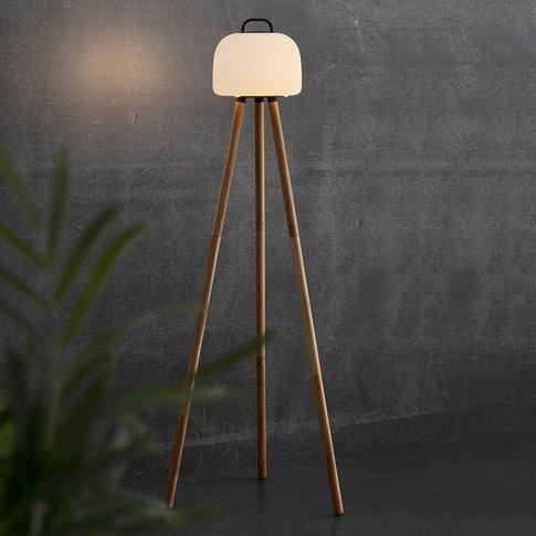 Kettle Tripod Led Floor Lamp Wood, Lampshade 22 Cm