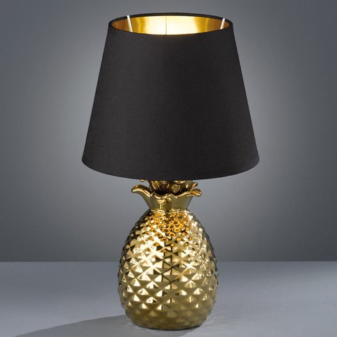 Pineapple Ceramic Table Lamp, Black And Gold