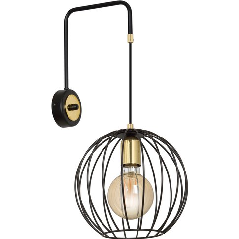 Albio K1 Wall Light With Cage Lampshade In Black