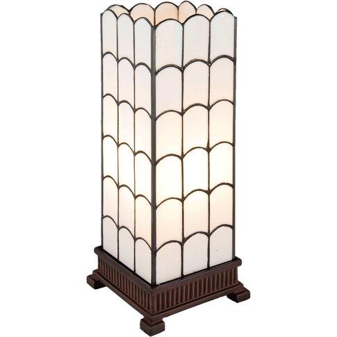5930 Table Lamp In White, Tiffany Design, 45Cm