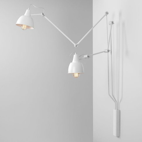 814 Wall Light, Adjustable, 2-Bulb, White