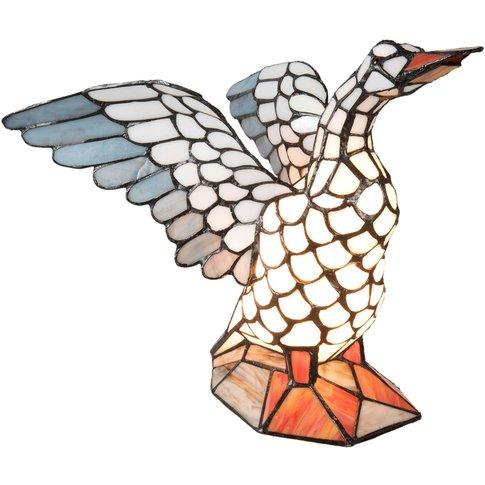 5928 Table Lamp, Goose Shape, Tiffany Style
