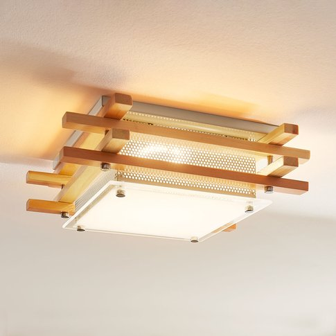 Angular Led Wooden Ceiling Lamp Zuna, Dimmable