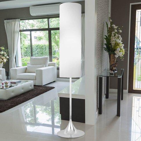Flute Fabric Floor Lamp, White Chrome