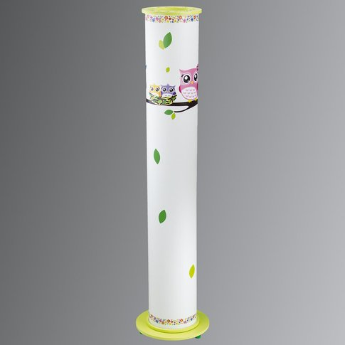 Owl Floor Lamp For A Child'S Room, White And Green