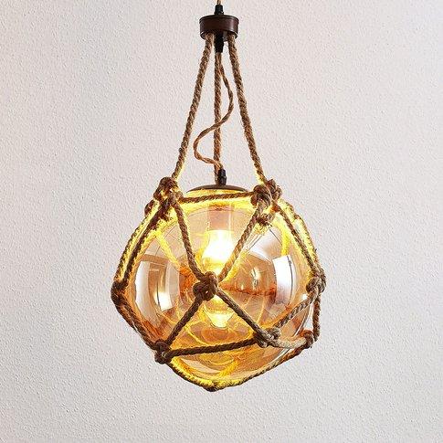 Georgina Pendant Lamp, Amber-Coloured Glass