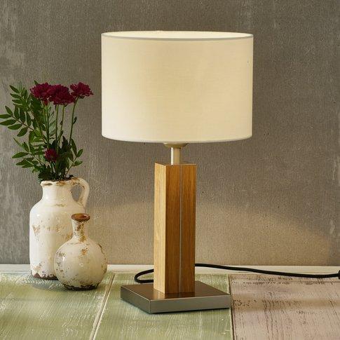 Herzblut Dana Table Lamp With Wooden Base Oak