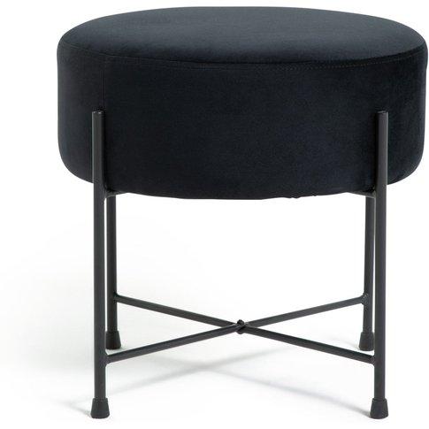 Habitat Jax Velvet Footstool - Black, Black