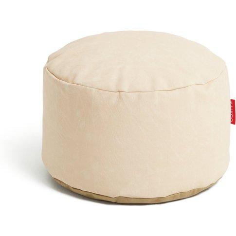Habitat Faux Leather Footstool - Cream, Cream