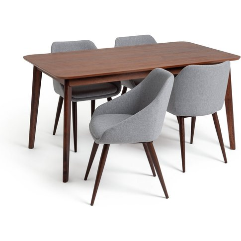 Habitat Skandi Walnut Veneer Dining Table & 4 Grey C...