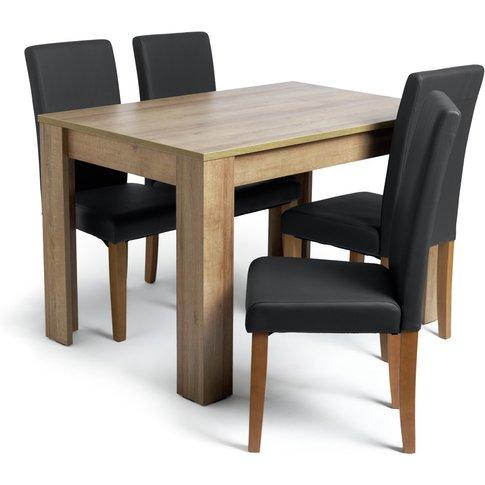 Habitat Miami Oak Effect Dining Table & 4 Black Chai...