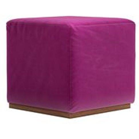Hugo Small Square Footstool In Peony Cotton Matt Velvet
