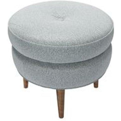Felix Round Footstool In Cirrus Smart Slubby Cotton