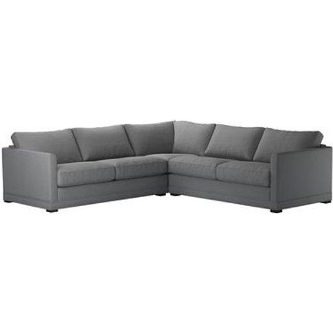Aissa Medium Corner Sofa in Shadow Brushed Linen Cotton