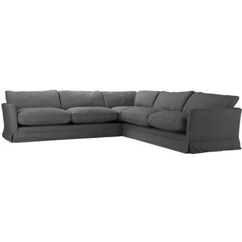 Otto Large Corner Sofa In Monsoon Brushed Linen Cotton
