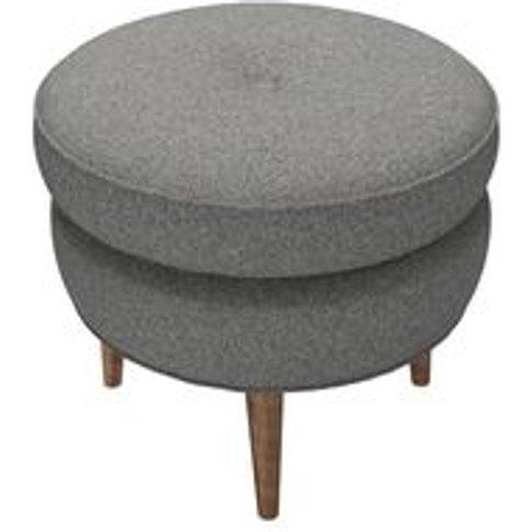 Felix Round Footstool In Falcon Wool Marl
