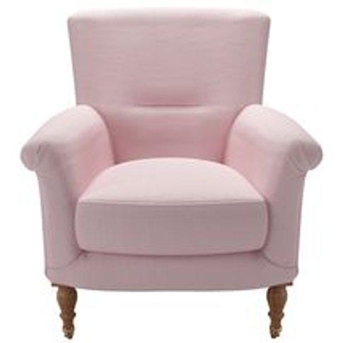 Alderney Armchair In Powder Pink Brushed Linen Cotton