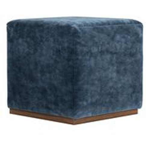 Hugo Small Square Footstool In Atlantic Roosevelt Ve...
