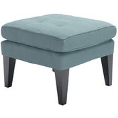 Club Small Square Footstool In Lagoon Brushed Linen Cotton