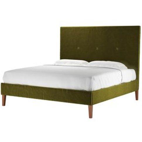 Avery 150cm Super King Bed In Olive Cotton Matt Velvet