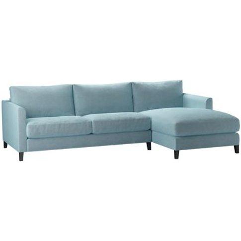 Izzy Medium Rhf Chaise Sofa In Powder Blue Smart Velvet