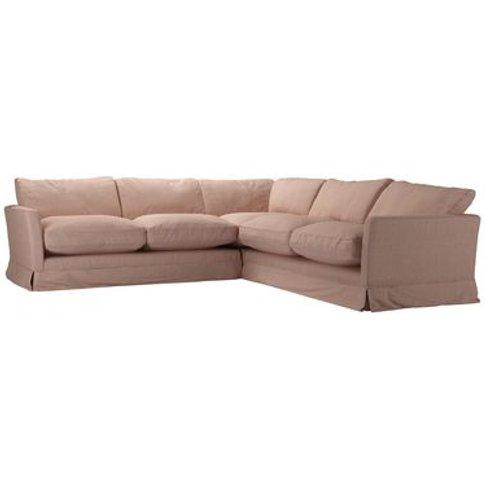 Otto Medium Corner Sofa In Blush Pure Belgian Linen