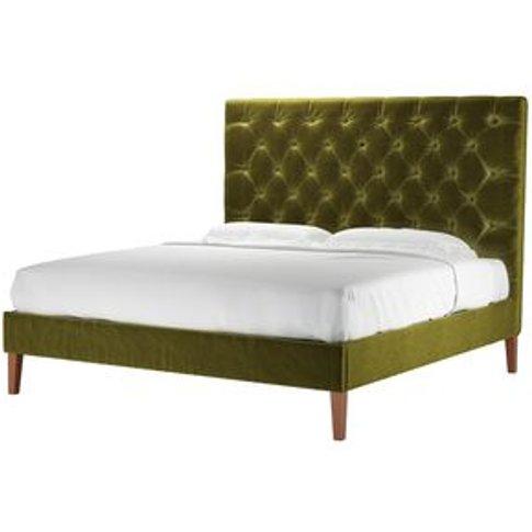 Rosalie 150cm Super King Bed In Olive Cotton Matt Ve...