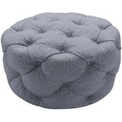Georgette Round Footstool In Eagle Dappled Viscose Wool