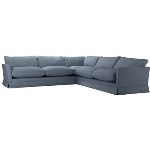 Otto Large Corner Sofa In Loch Brushed Linen Cotton