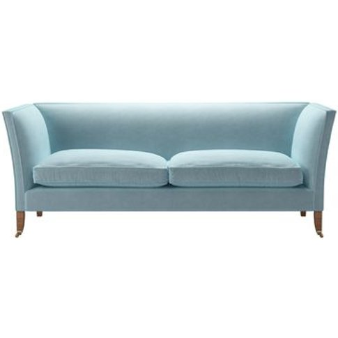 Descartes Plain 3 Seat Sofa In Powder Blue Smart Velvet