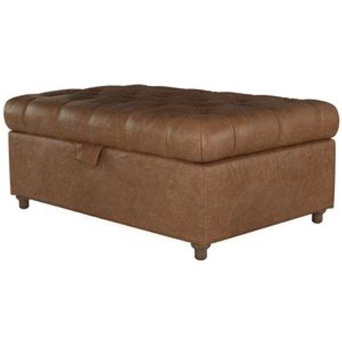 Valentin Medium Rectangular Storage Footstool In Tan Vintage Leather