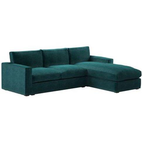 Stella Large Rhf Chaise Sofa In Jade Smart Velvet