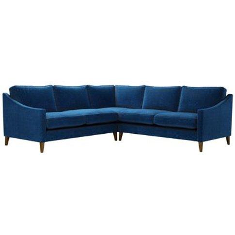 Iggy Medium Corner Sofa In Royal Blue Velvet Jacquard