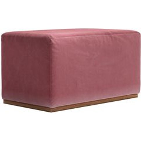Hugo Small Rectangular Footstool In Dusty Rose Cotto...