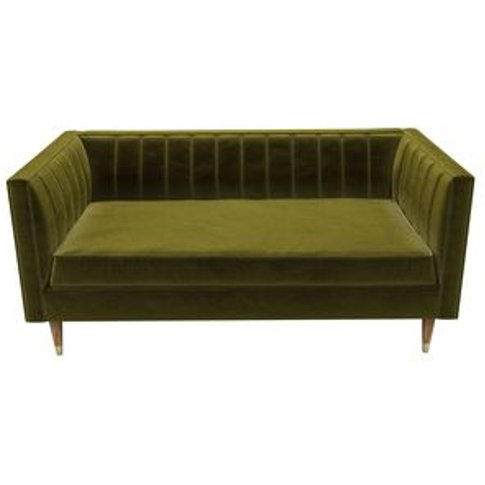Ruby 2 Seat Sofa In Olive Cotton Matt Velvet