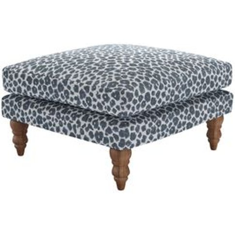 Isla Medium Square Footstool In Hippo Jungle Cat